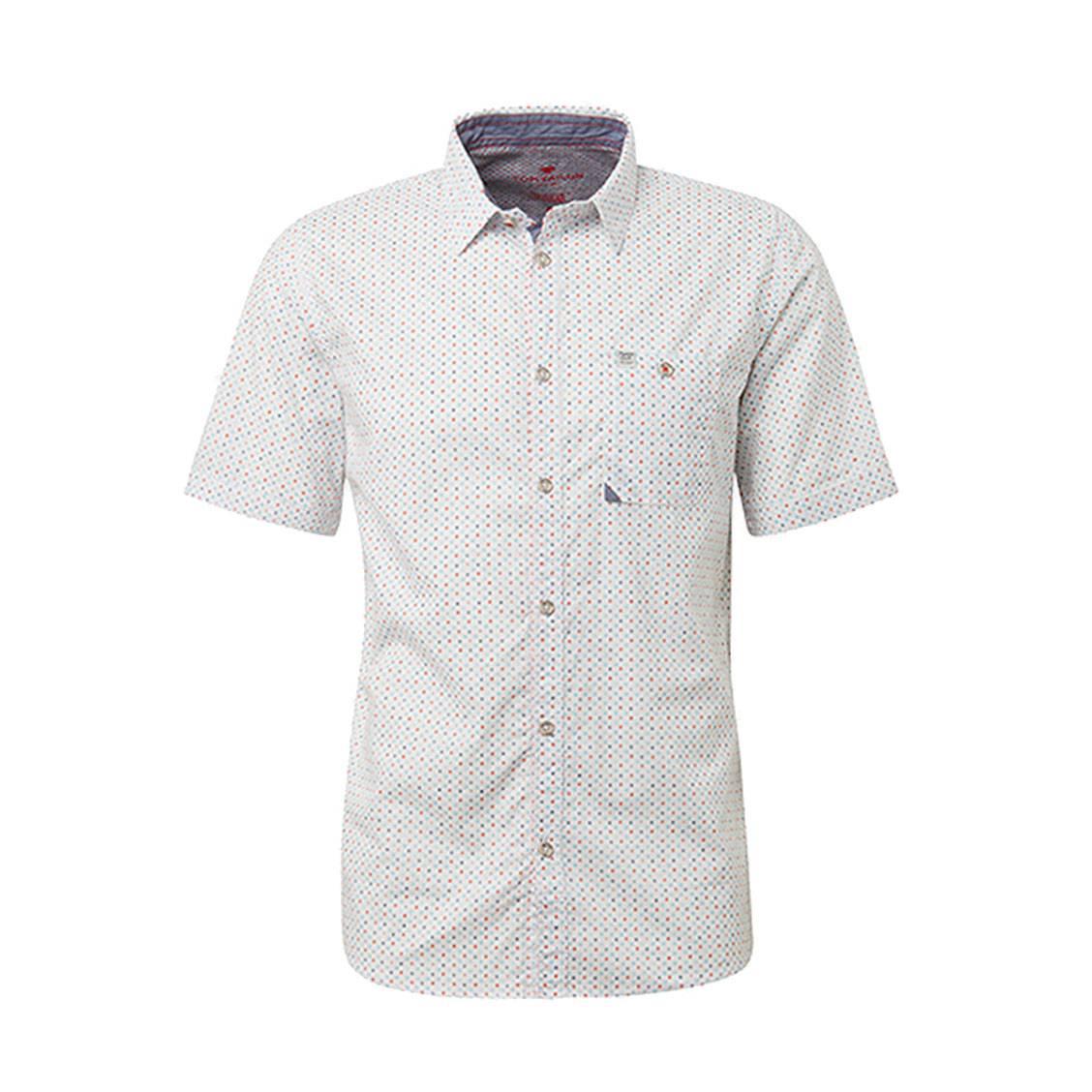 Chemise ajustée manches courtes  ray en coton blanc à micro motifs bleu ciel, rouges et bleu marine
