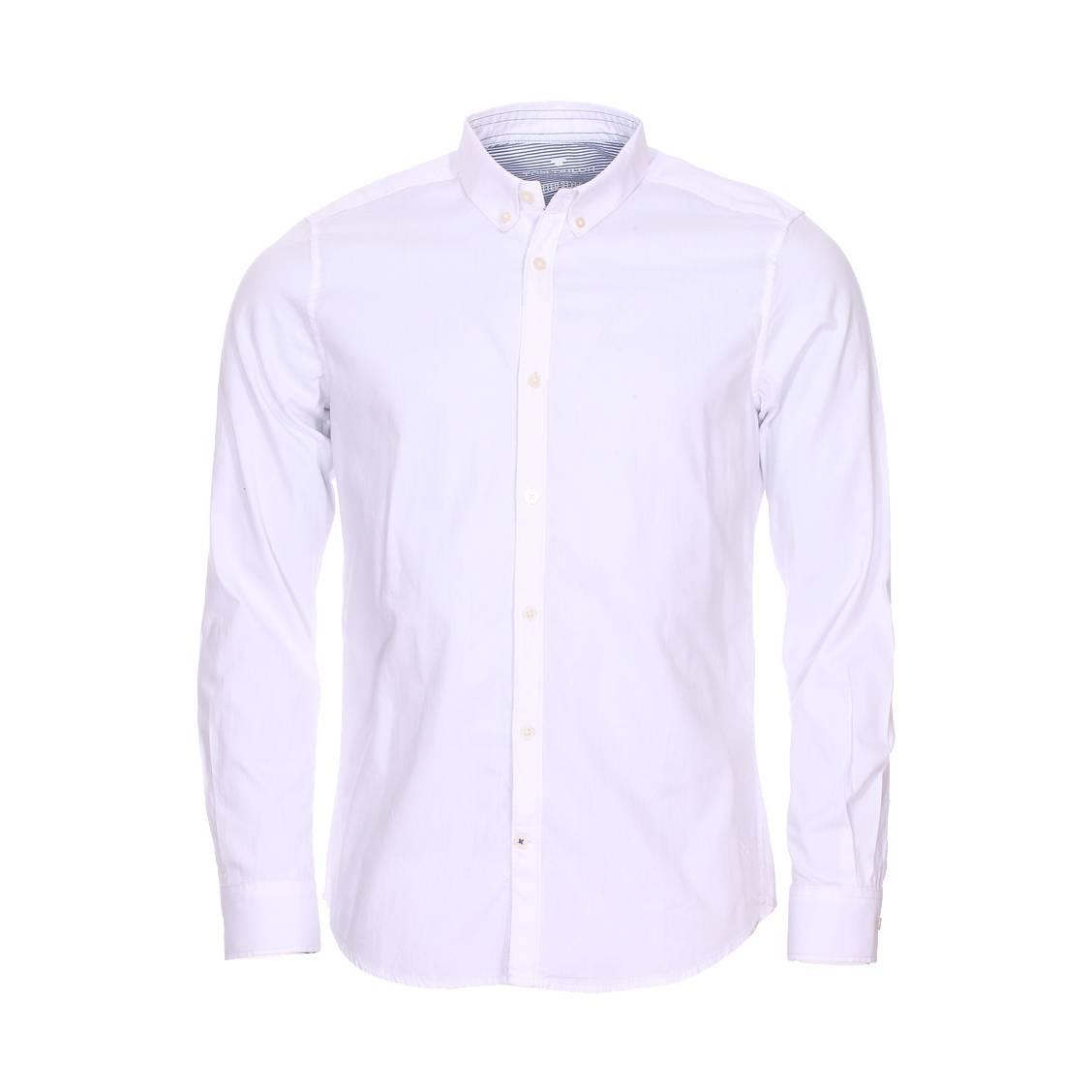 Chemise ajustée  floyd en coton blanc à opposition blanche à rayures bleu chiné