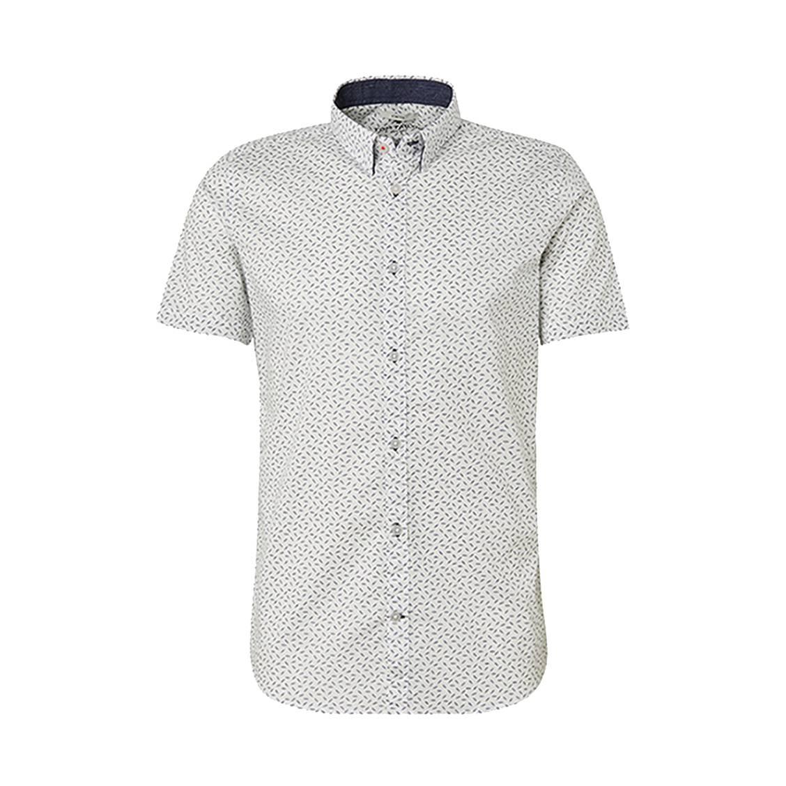 Chemise ajustée manches courtes  floyd en coton stretch blanch à imprimé feuilles bleu marine