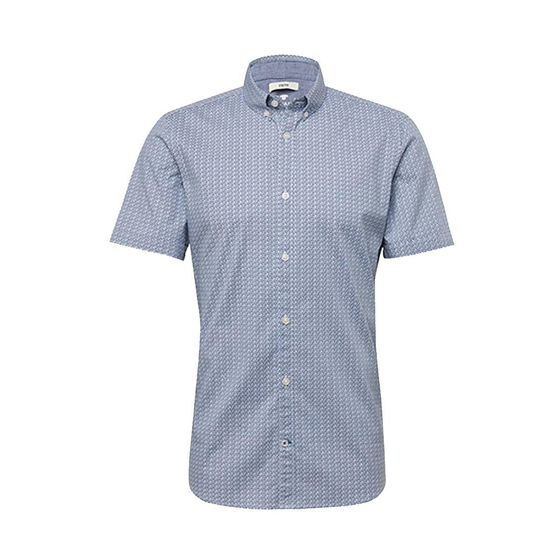 Chemise ajustée manches courtes  floyd en coton stretch blanche à imprimés graphiques bleus