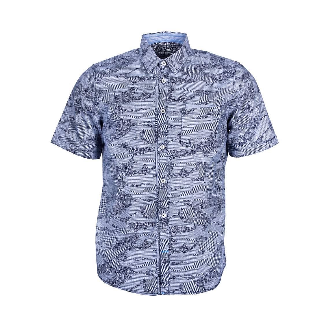 Chemise ajustée manches courtes  ray en coton à imprimé camouflage bleu marine fantaisie