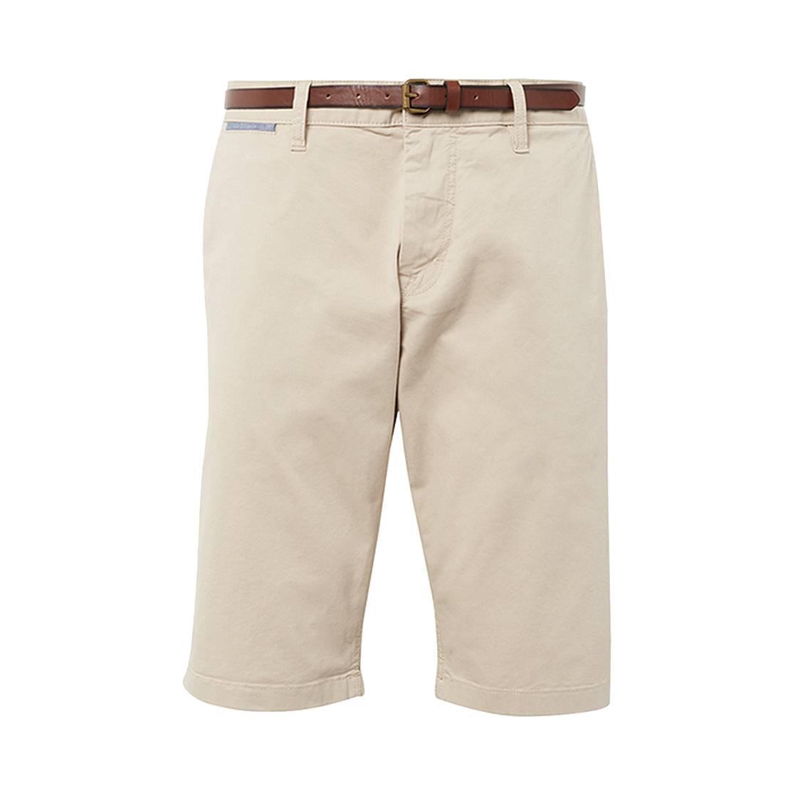 Short Tom Tailor Essential Chino en coton stretch beige à ceinture marron