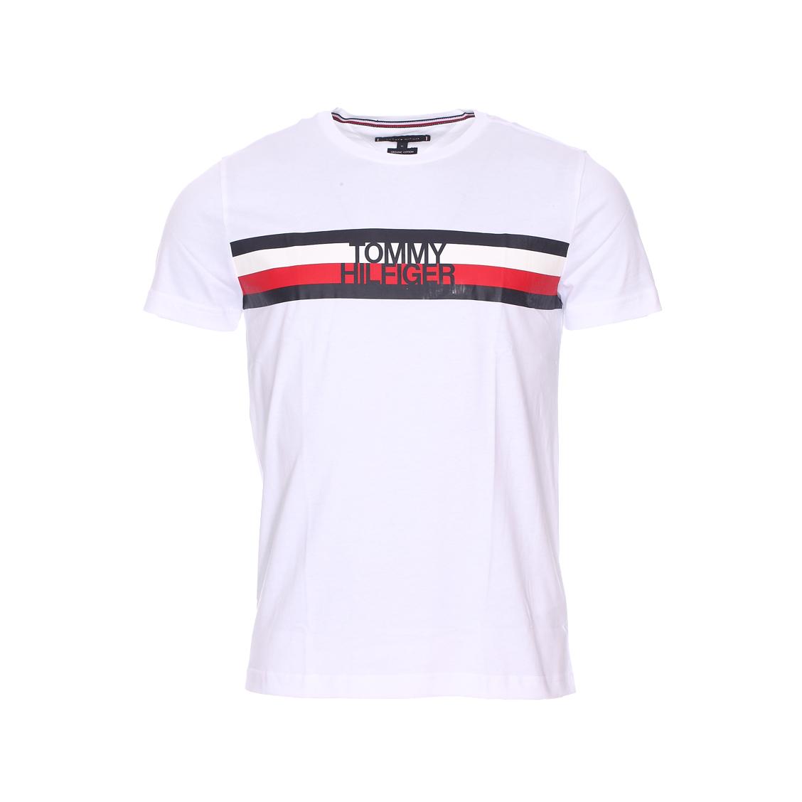 Tee-shirt col rond  logo en coton biologique blanc floqué