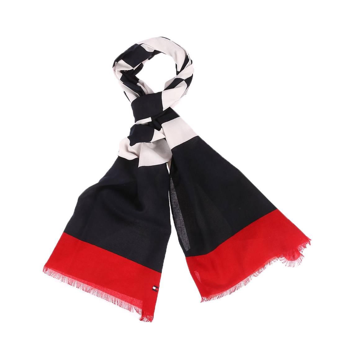 Echarpe tommy hilfiger en coton bleu marine à imprimé hilfiger blanc et bandes rouges