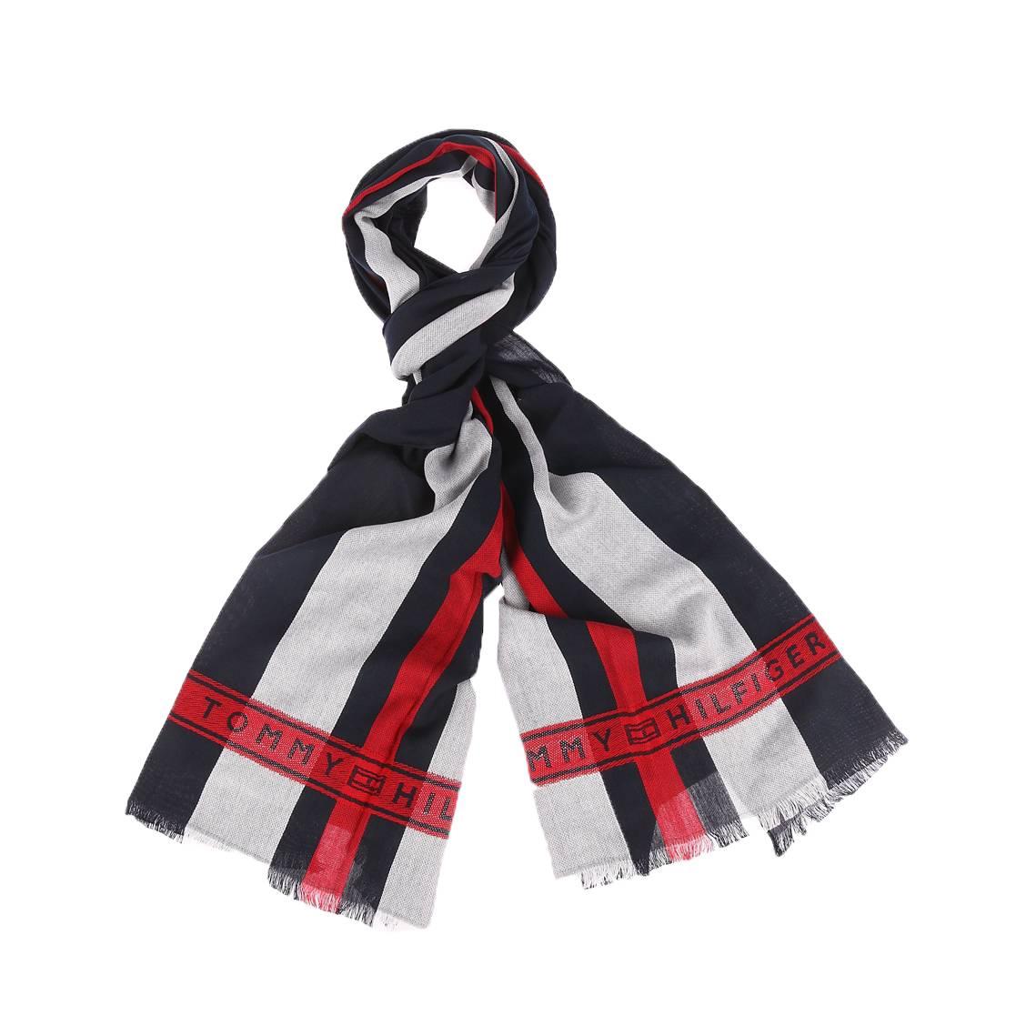Echarpe tommy hilfiger selvedge en coton bleu marine à bandes blanches et rouges
