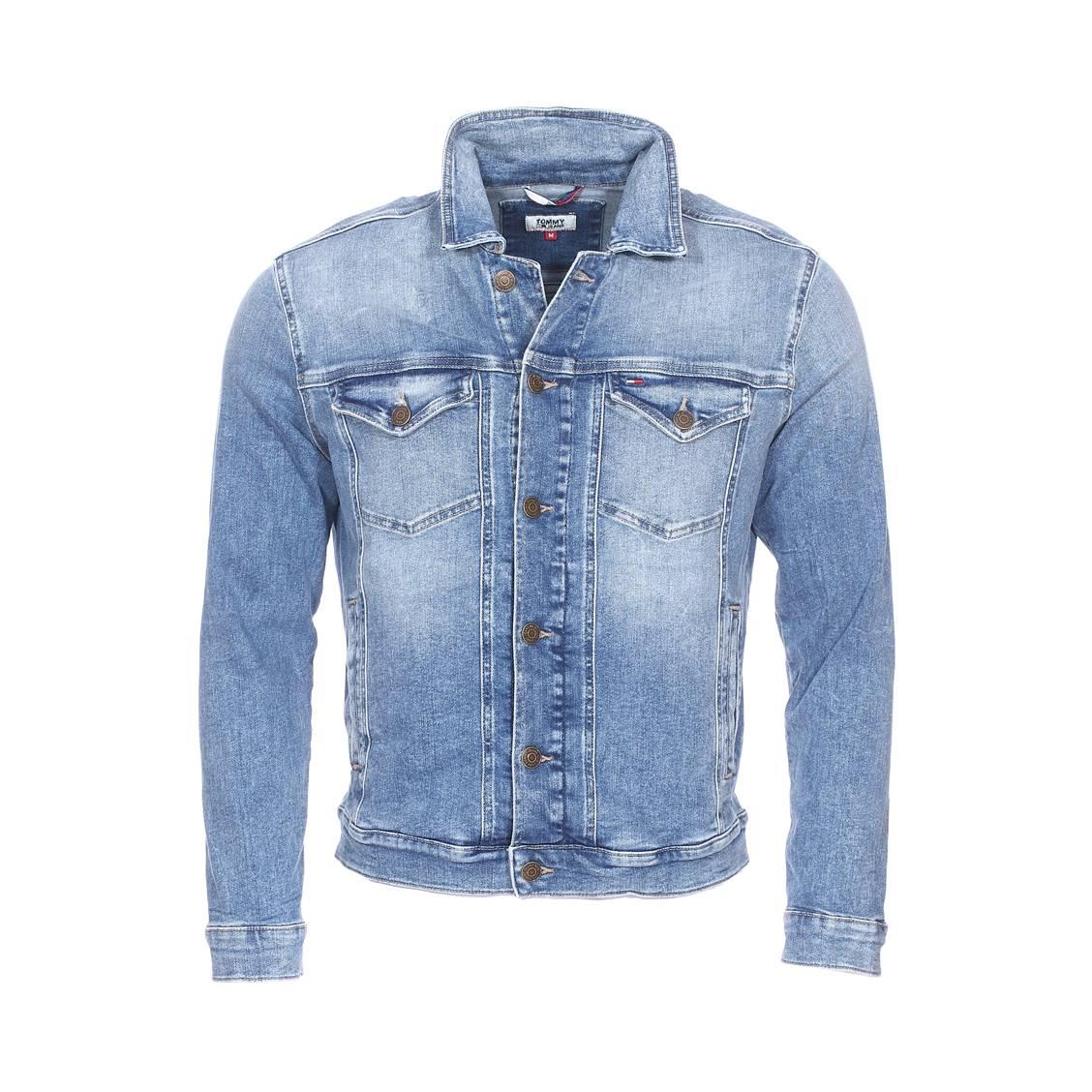 Veste en jean  regular trucker en coton stretch bleu effet délavé