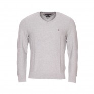 Pull col V Tommy Hilfiger en coton gris chiné