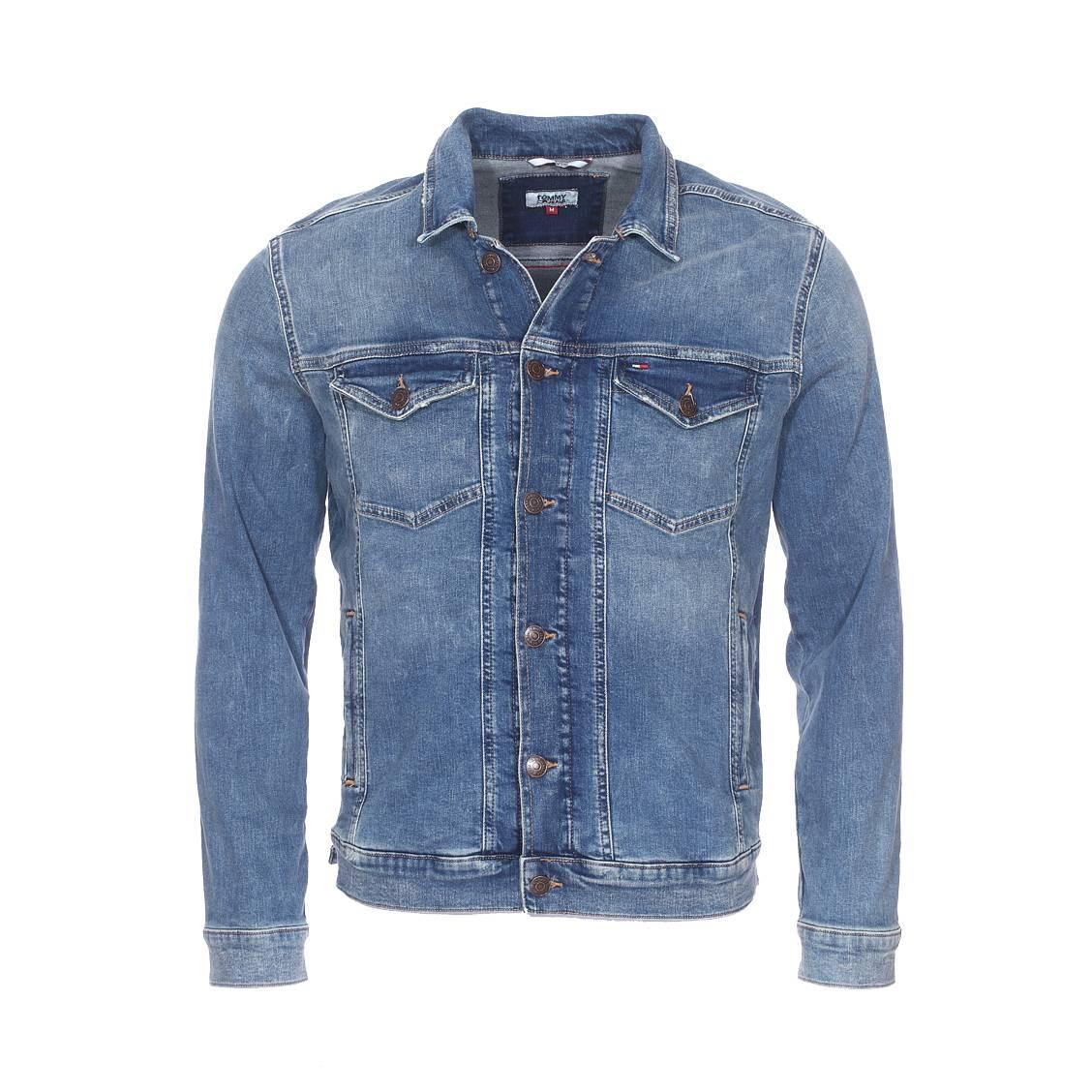 Veste en jean  clmmb en coton stretch bleu délavé