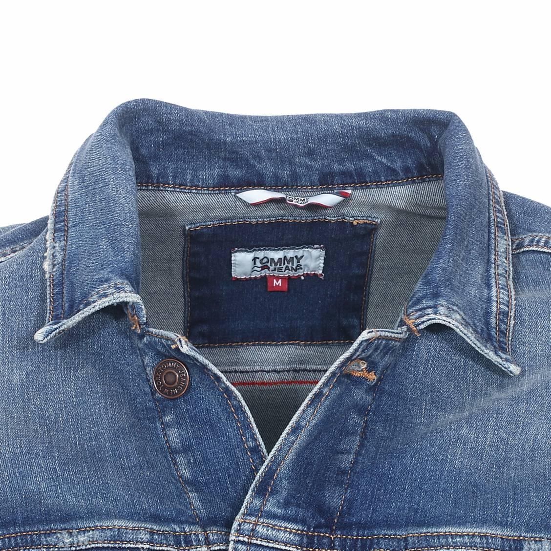 En Coton Jeans Jean Stretch Bleu Délavé Clmmb Veste Tommy Rue Oqad4Ow
