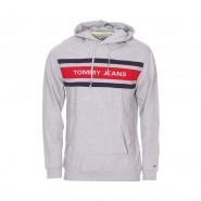 Sweat à capuche Tommy Jeans en coton mélangé gris chiné floqué