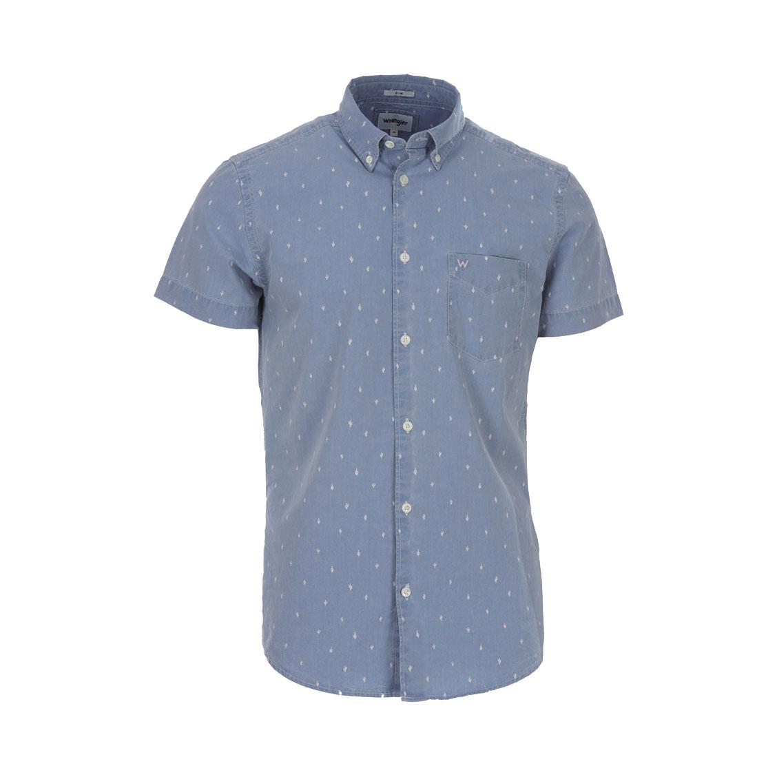 Chemise ajustée manches courtes  en coton bleu denil à imprimés cactus blancs