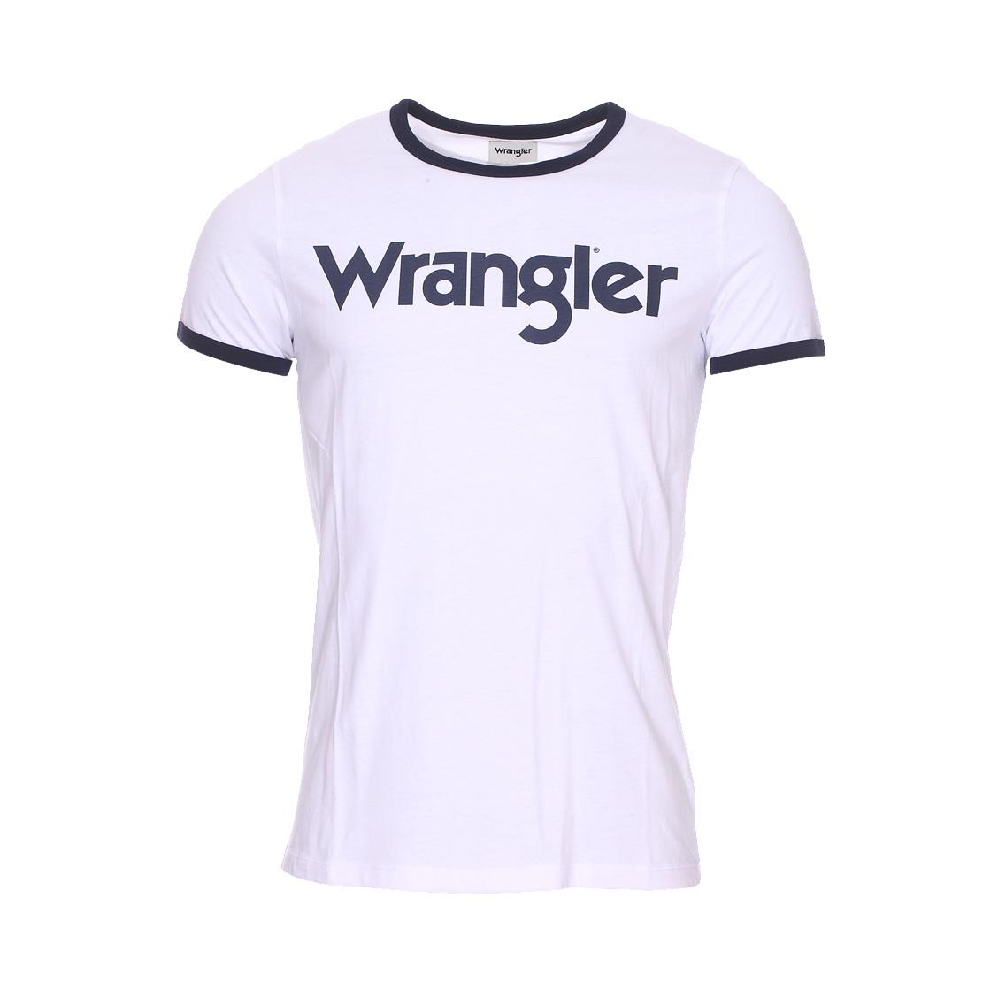 Tee-shirt col rond  kabel en coton blanc floqué en bleu marine