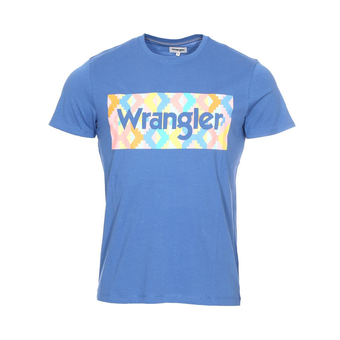 Tee-shirt col rond  summer logo en coton bleu marine floqué multicolore