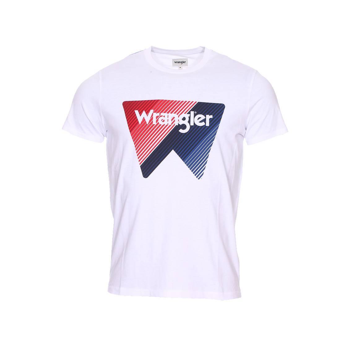 Tee-shirt col rond  box logo en coton blanc floqué en rouge et bleu