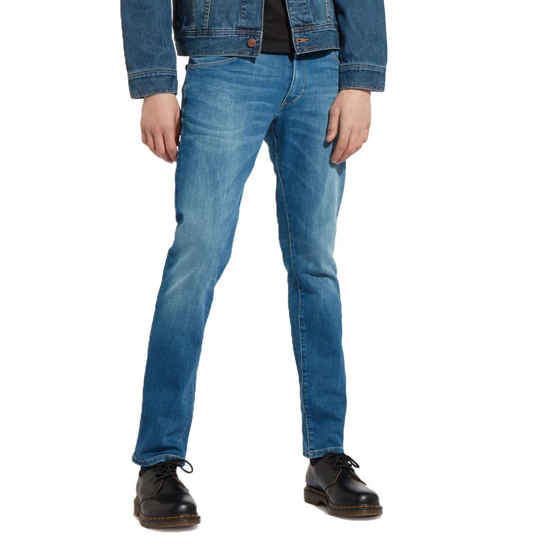 Jean droit  larston en coton mélangé bleu clair légèrement délavé