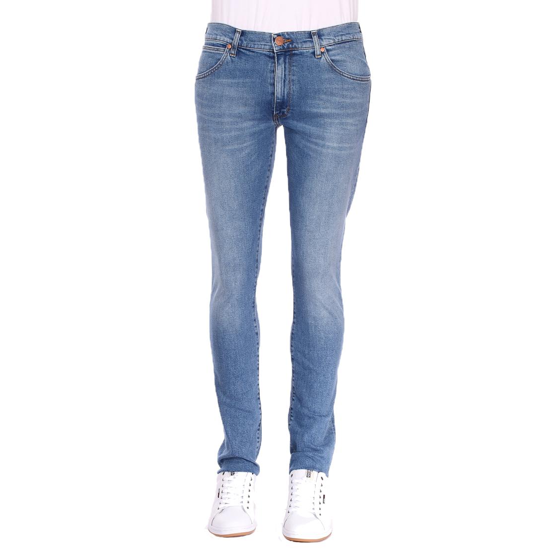 Jean slim tapered  larston en coton mélangé stretch bleu clair légèrement délavé