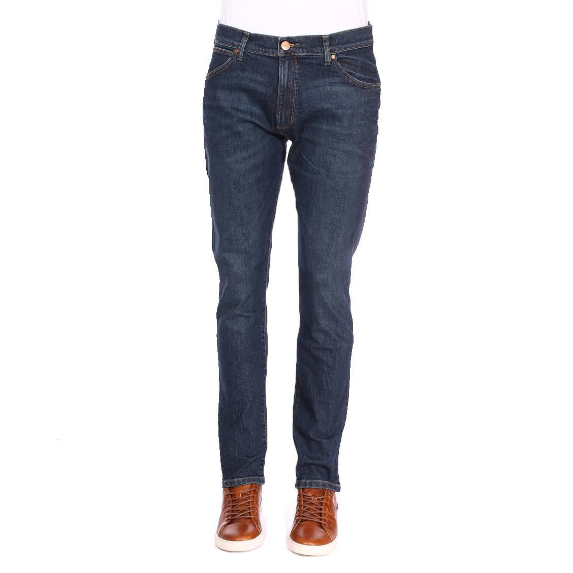 Jean slim tapered  larston en coton stretch bleu foncé légèrement délavé