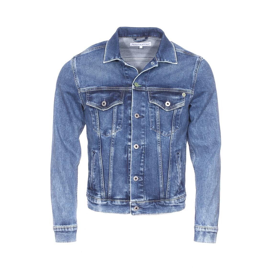 Veste en jean  pinner en coton stretch bleu délavé