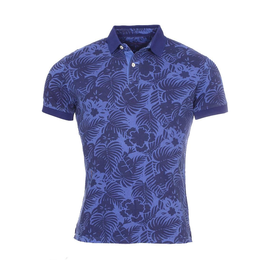 Polo manches courtes  alexandre en coton bleu marine à motifs feuilles