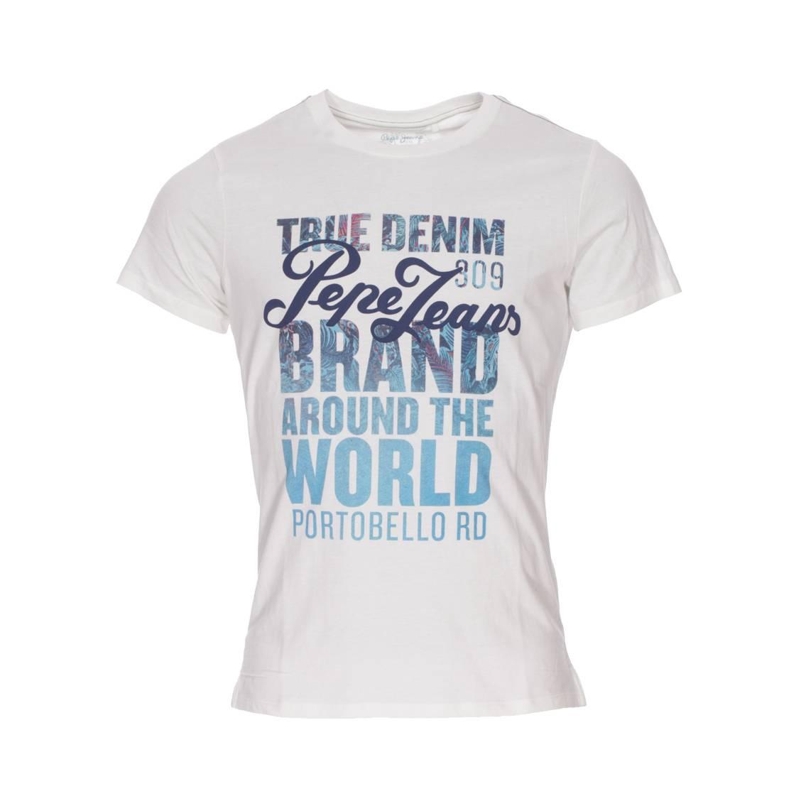 Tee-shirt col rond  niko en coton blanc floqué