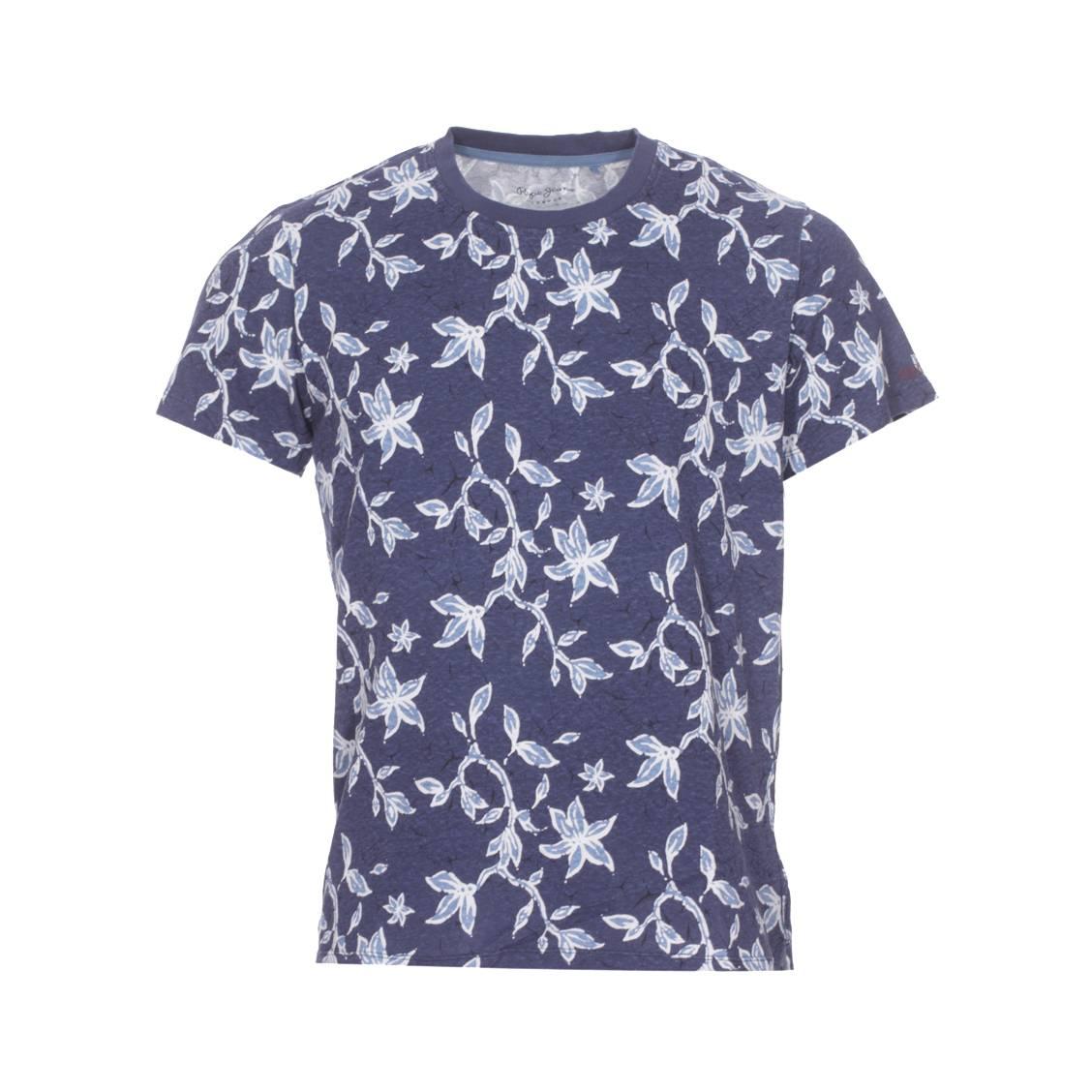 Tee-shirt col rond  oaks en coton léger bleu marine à motifs floraux bleu ciel et blancs