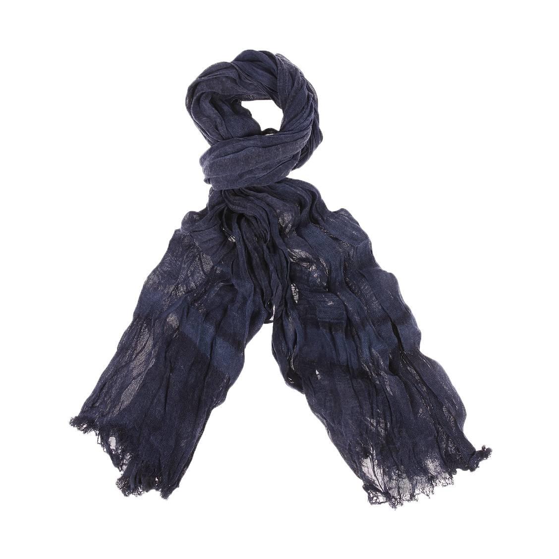 Chèche Pepe Jeans Eidenhoven en coton mélangé à rayures bleu marine et bleu pétrole