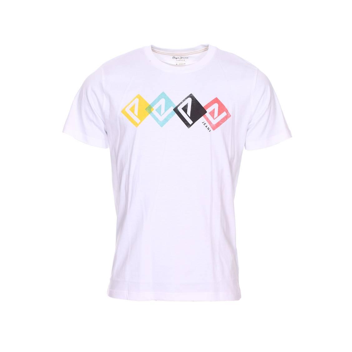 Tee-shirt col rond  joel en coton blanc floqué