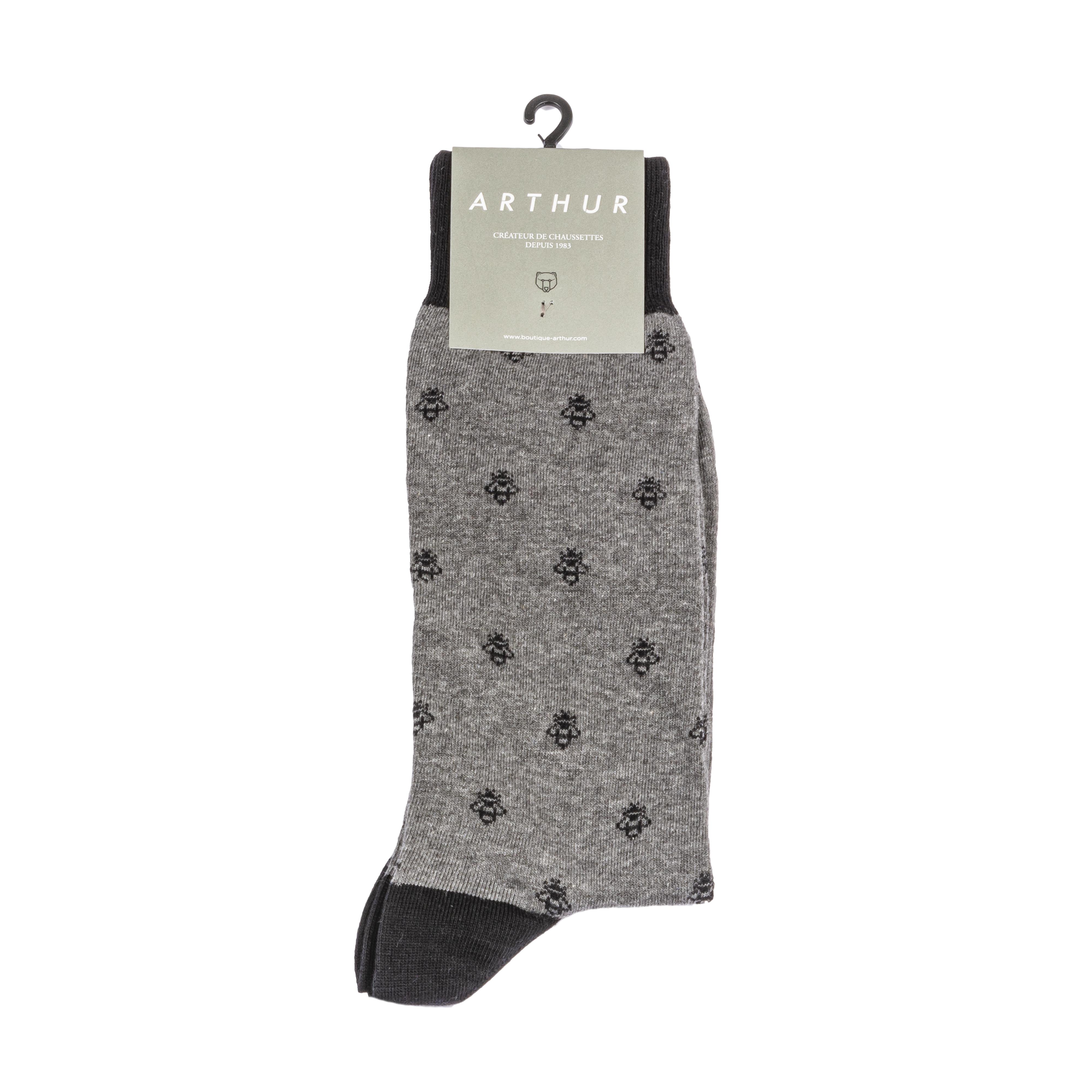 Chaussettes  bee en coton mélangé gris à motifs abeilles noirs