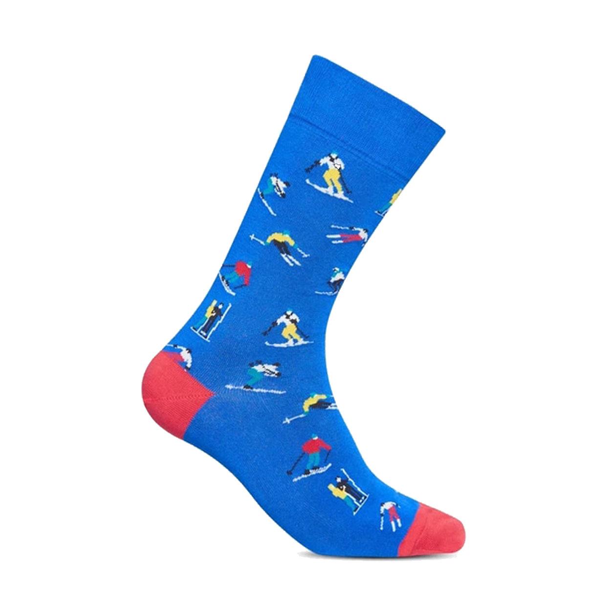 Lot de 3 paires de chaussettes  ski en coton mélangé bleu à imprimés skieurs