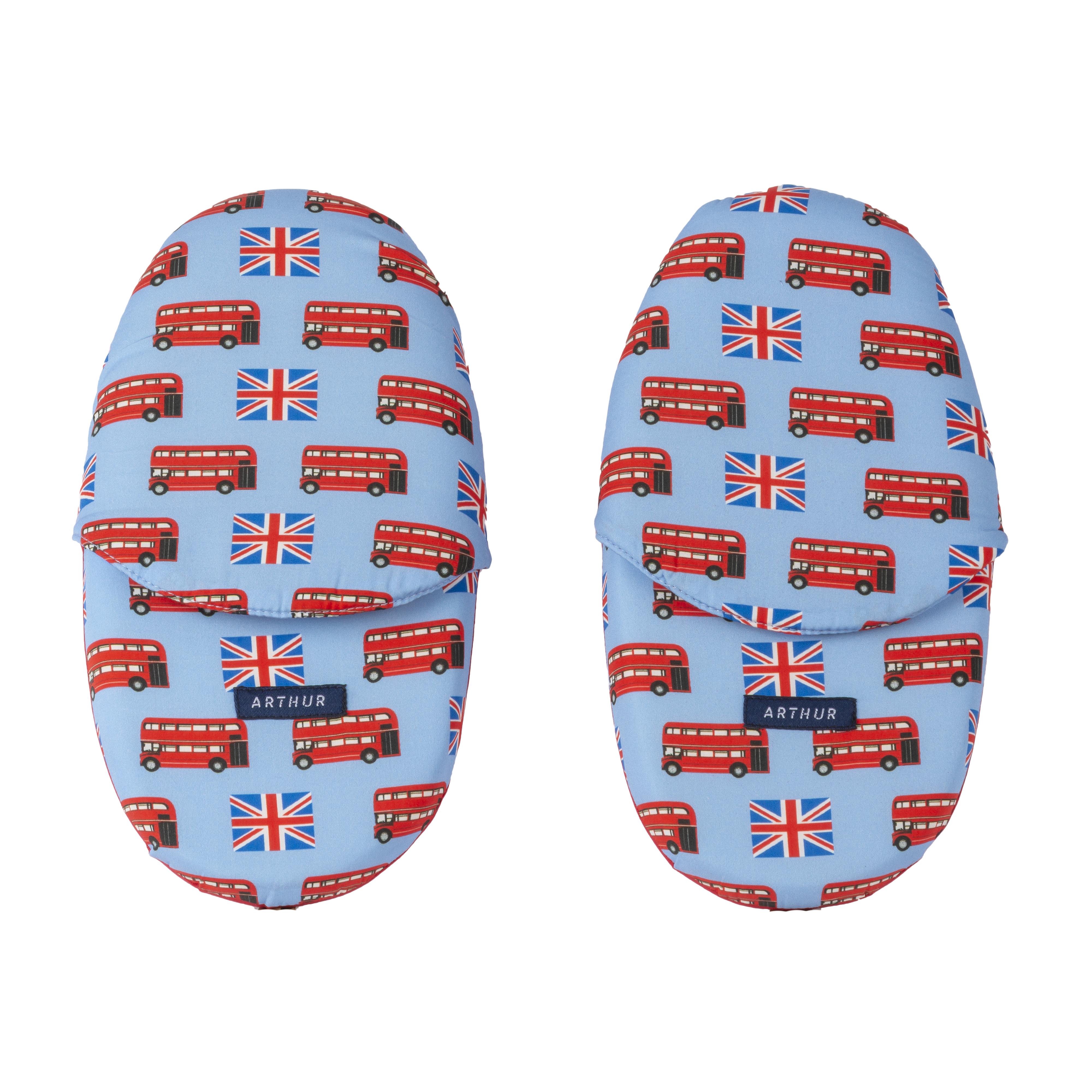 Pantoufles  imperial bleu ciel au motifs angleterre