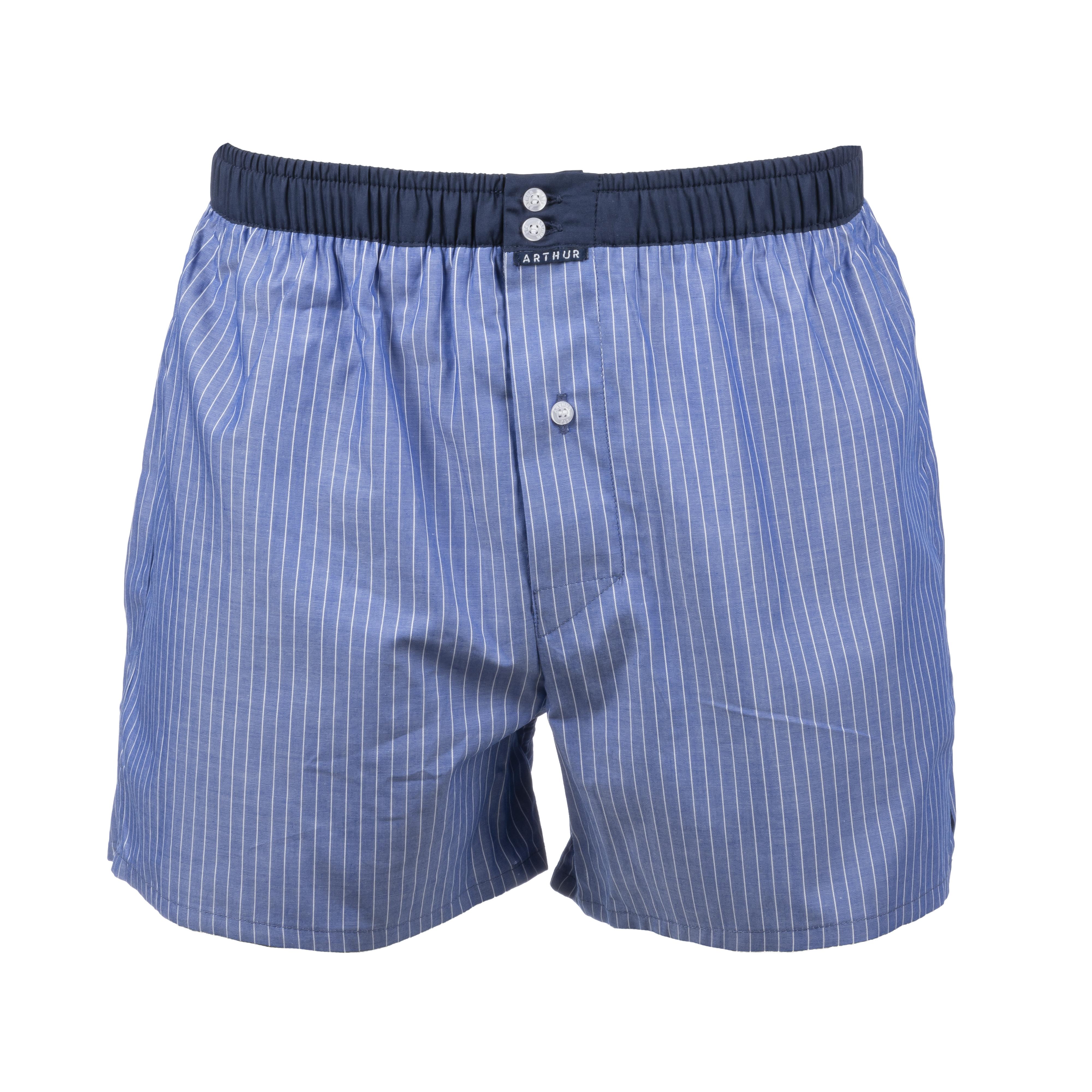 Caleçon  en coton bleu à rayures fines blanches