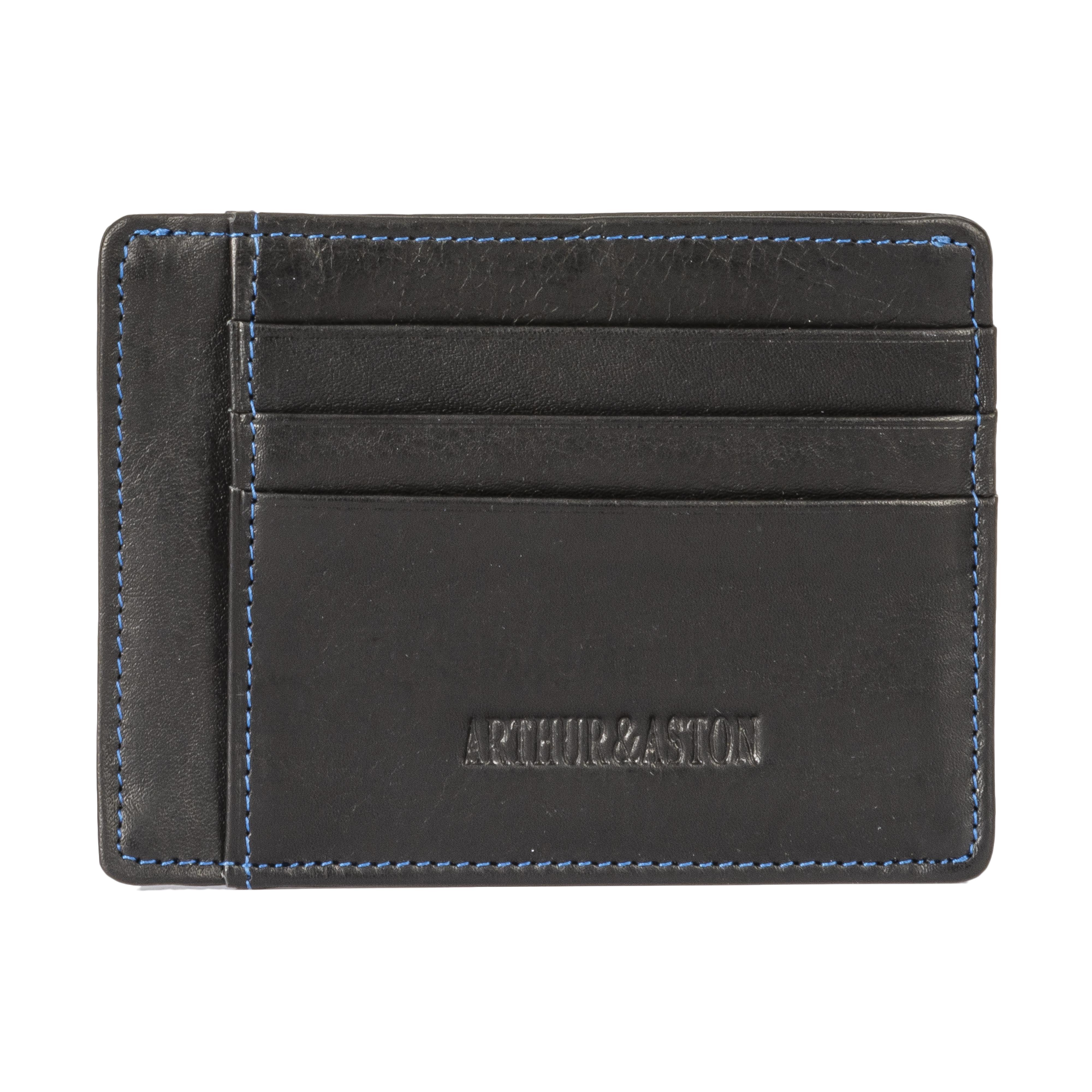 Porte-carte italien arthur & aston en cuir noir à surpiqûres bleues