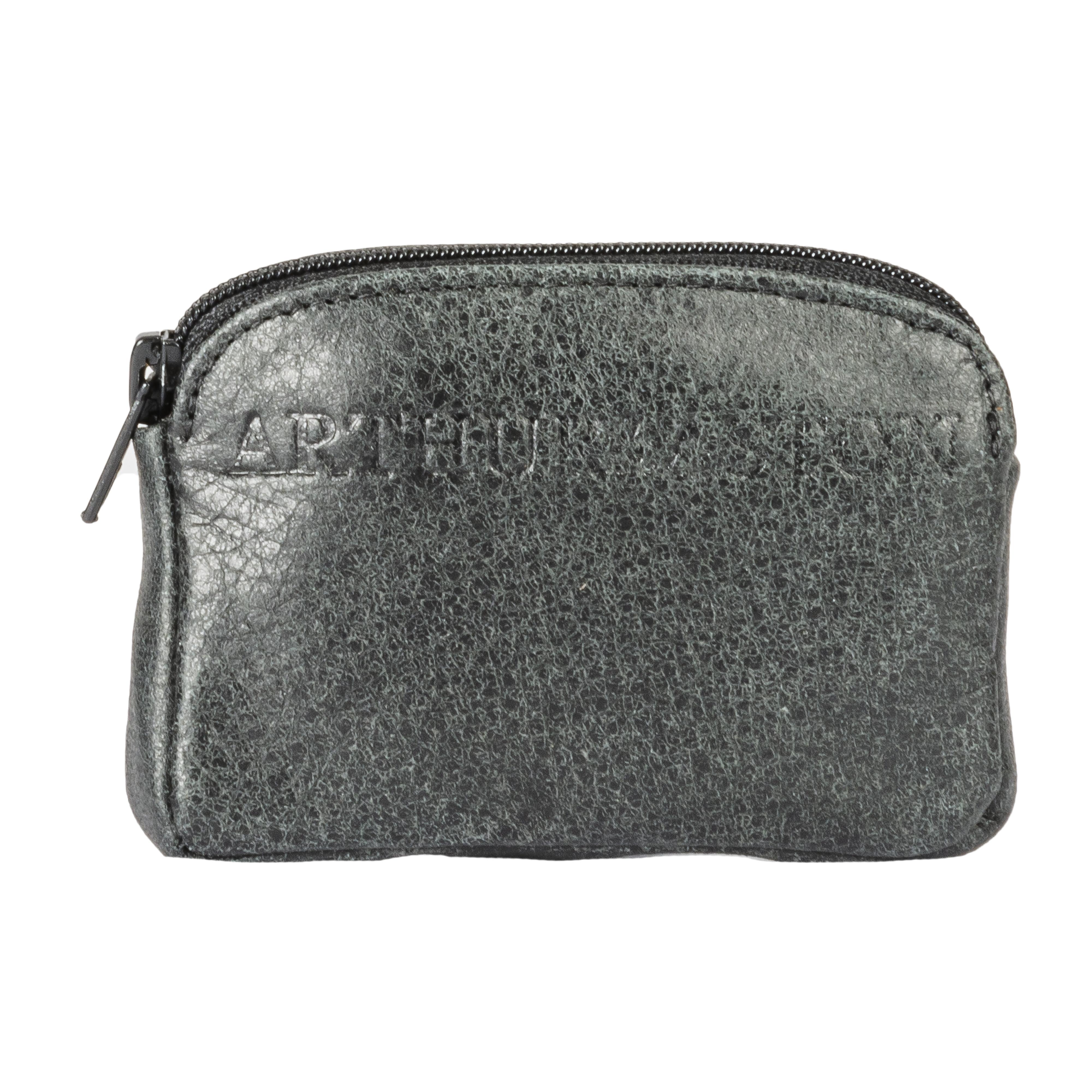 Porte-monnaie zippé arthur & aston en cuir noir