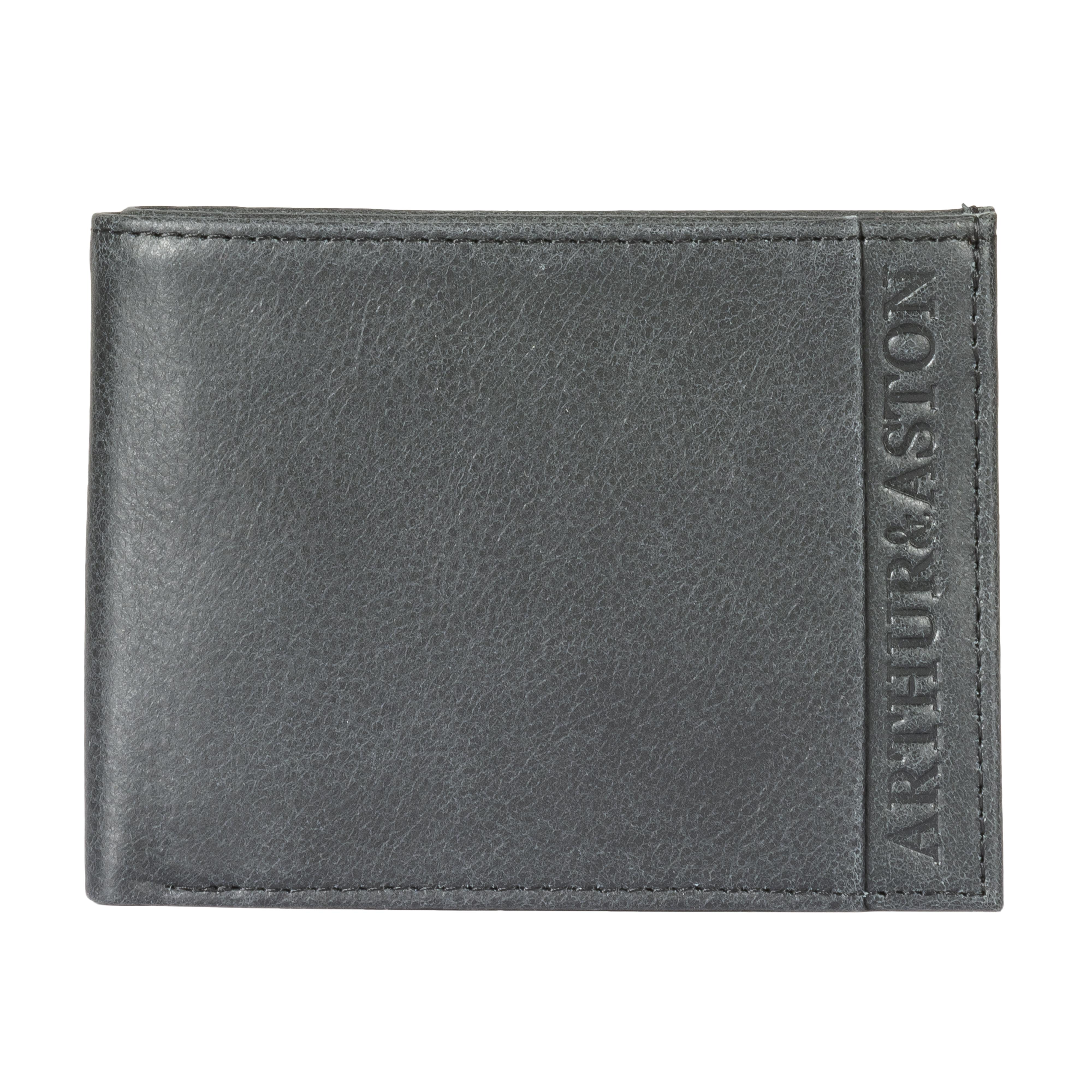 Portefeuille italien 2 volets arthur & aston en cuir de vachette noir