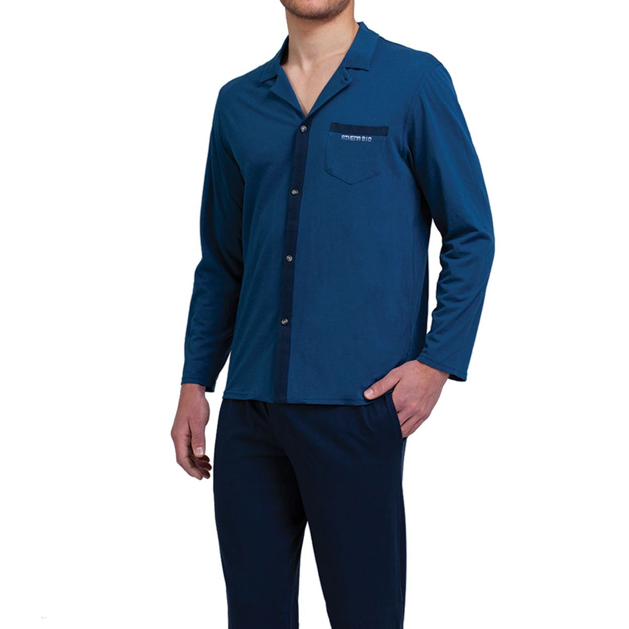 Pyjama long  en coton : veste bleu canard et pantalon bleu marine