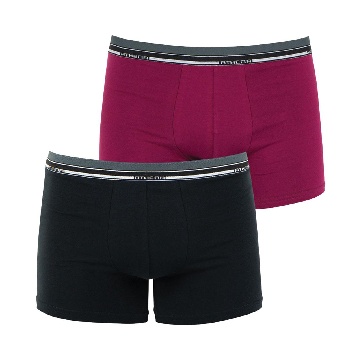 Lot de 2 boxers  eco pack en coton stretch noir et prune