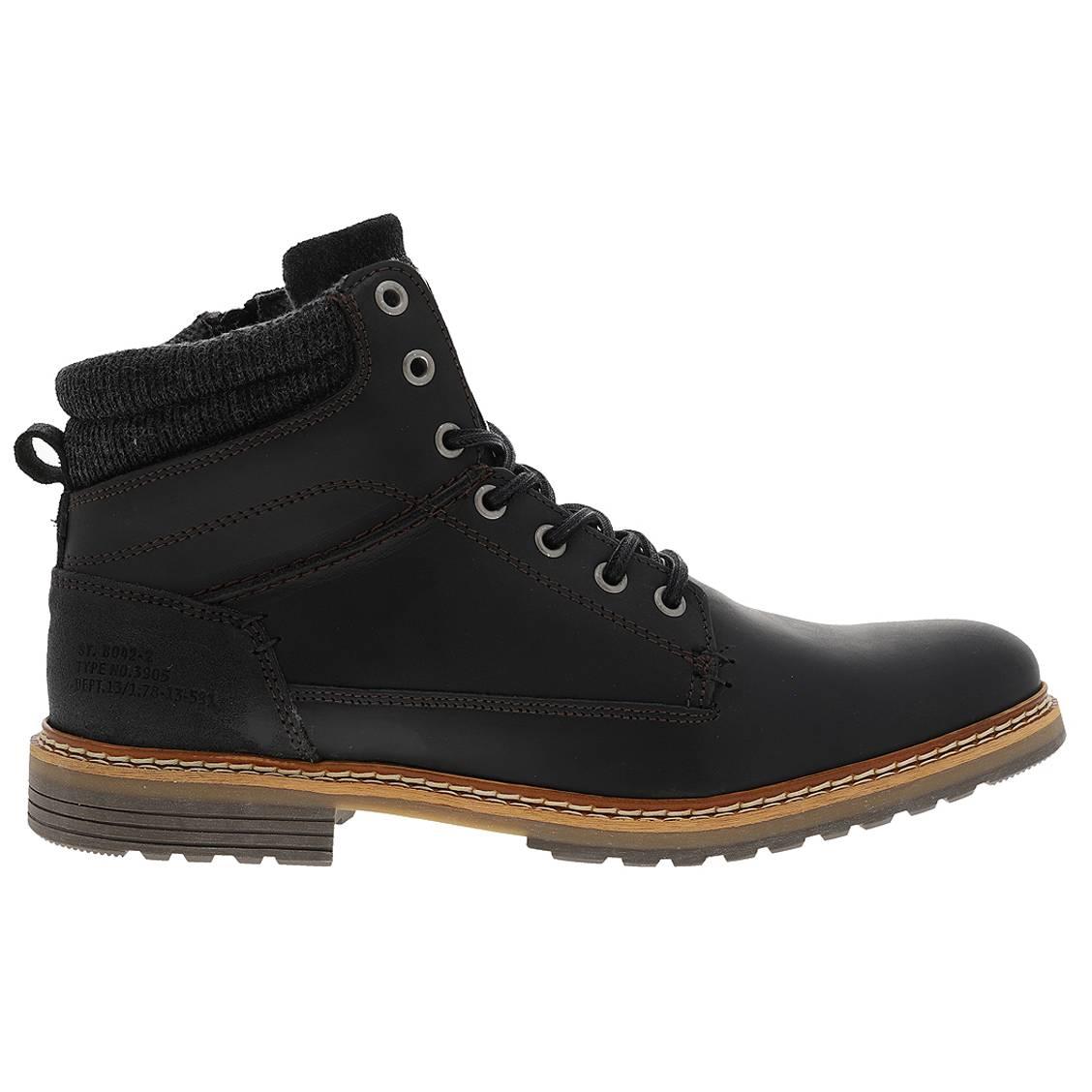 Chaussures Bullboxer montantes en cuir noir. Chaussures Bullboxer montantes en cuir noir