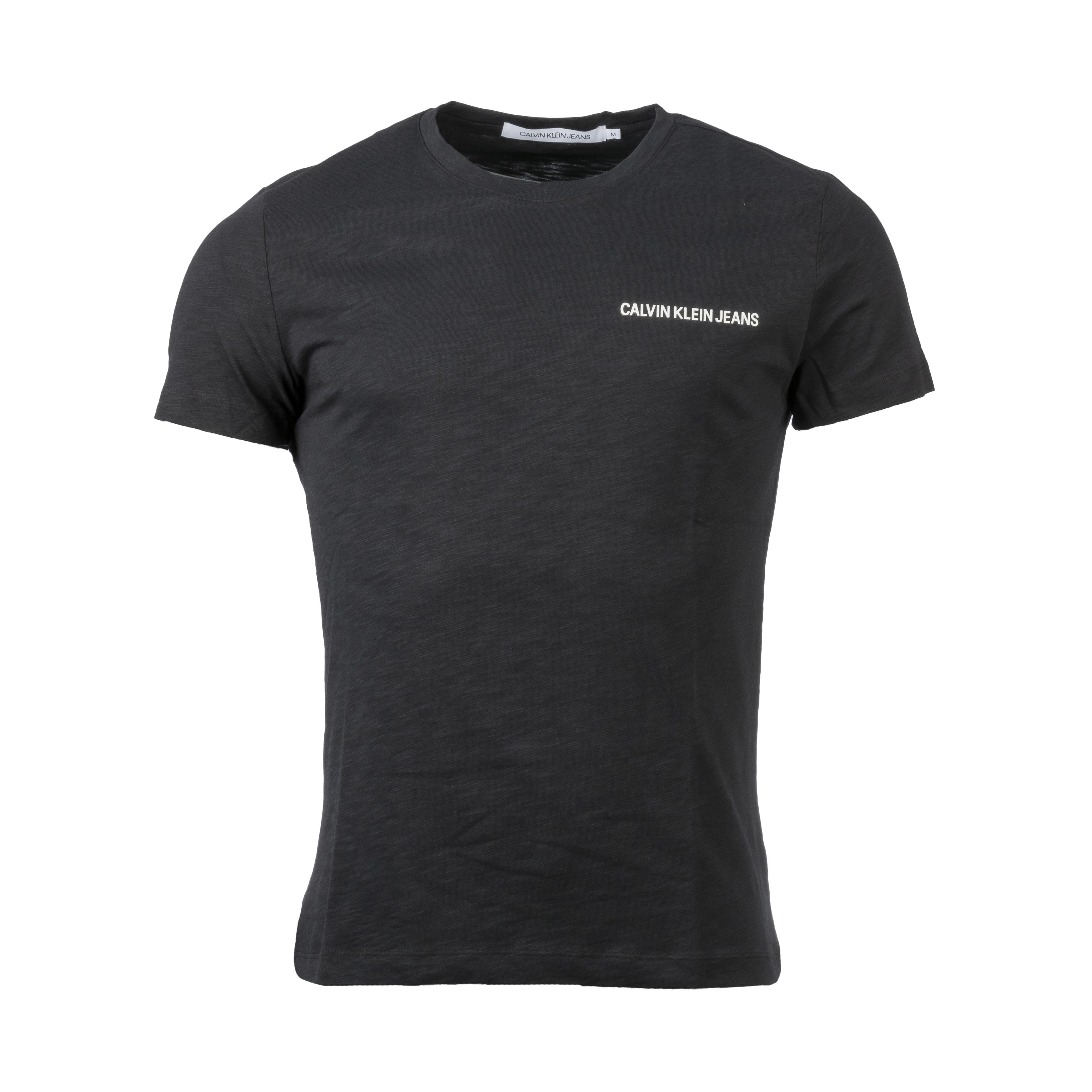 Tee-shirt  chest en coton noir floqué blanc