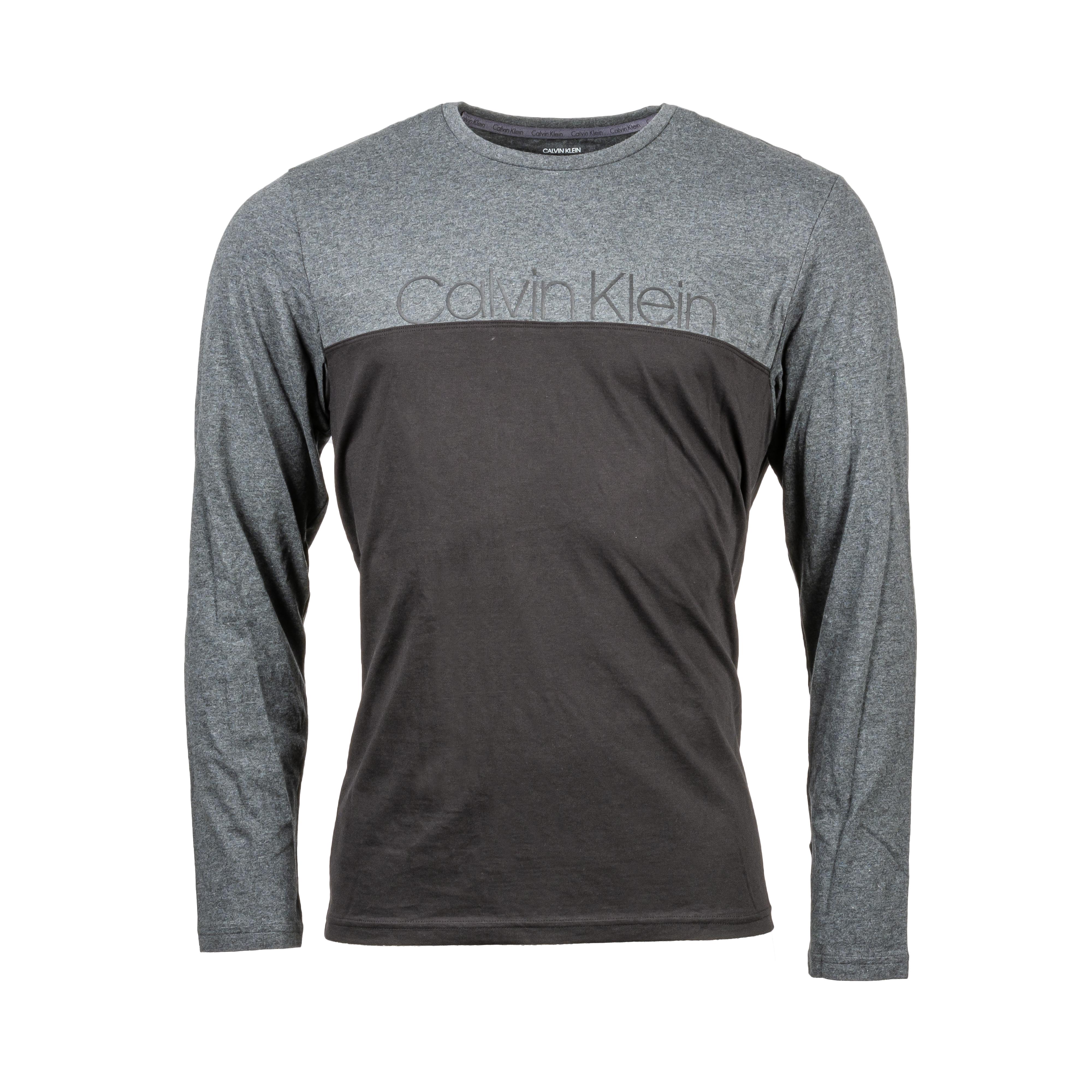 Tee-shirt col rond manches longues calvin klein en coton noir et gris