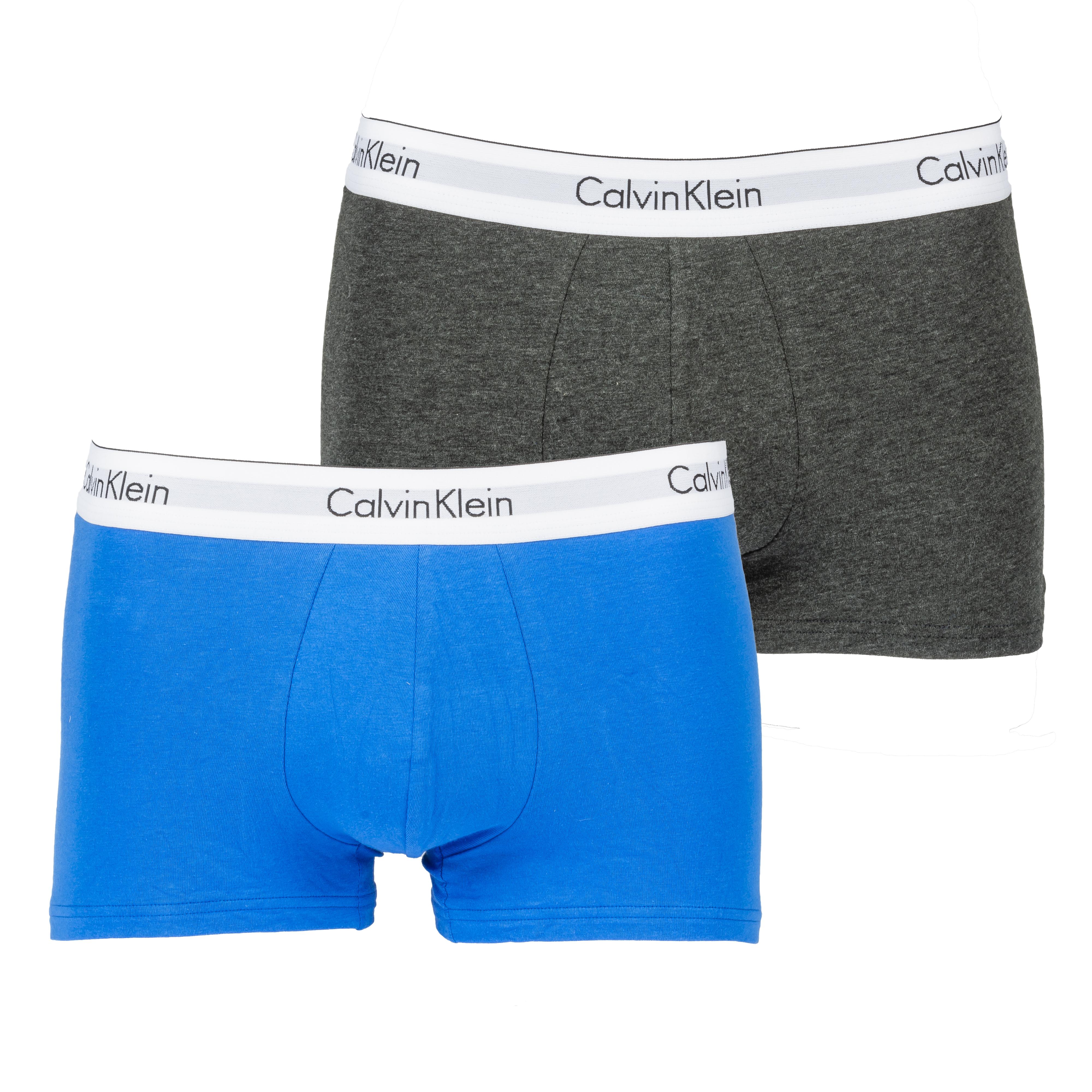 Lot de 2 boxers calvin klein en coton stretch gris anthracite et bleu ciel à ceinture blanche