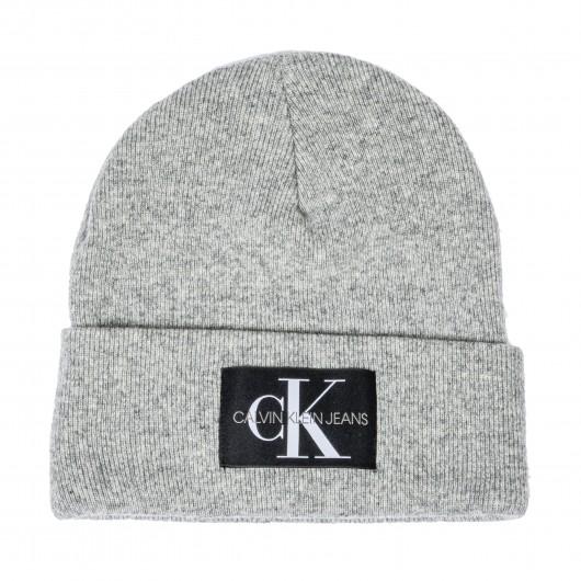 Bonnet à revers Calvin Klein en laine mélangée gris chiné