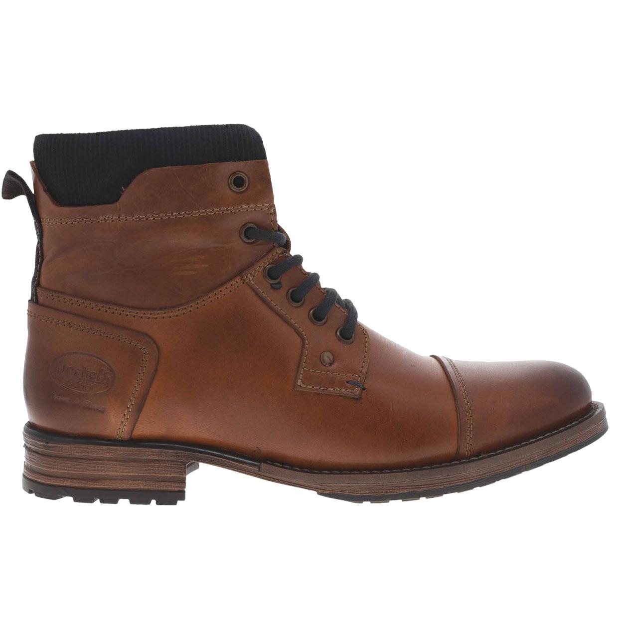 Boots montantes  marron à détails bleu marine