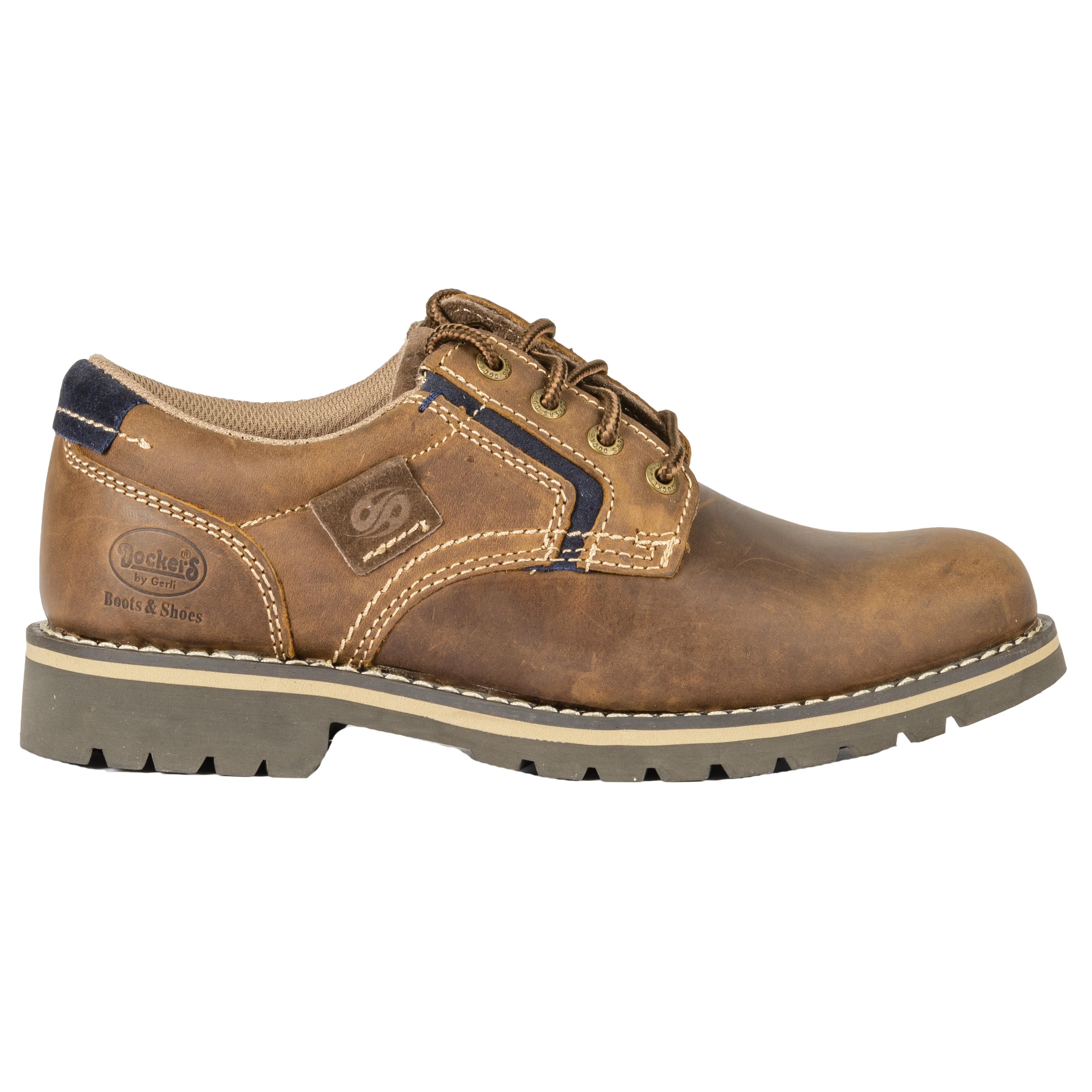Chaussures  en cuir marron à détails bleu marine