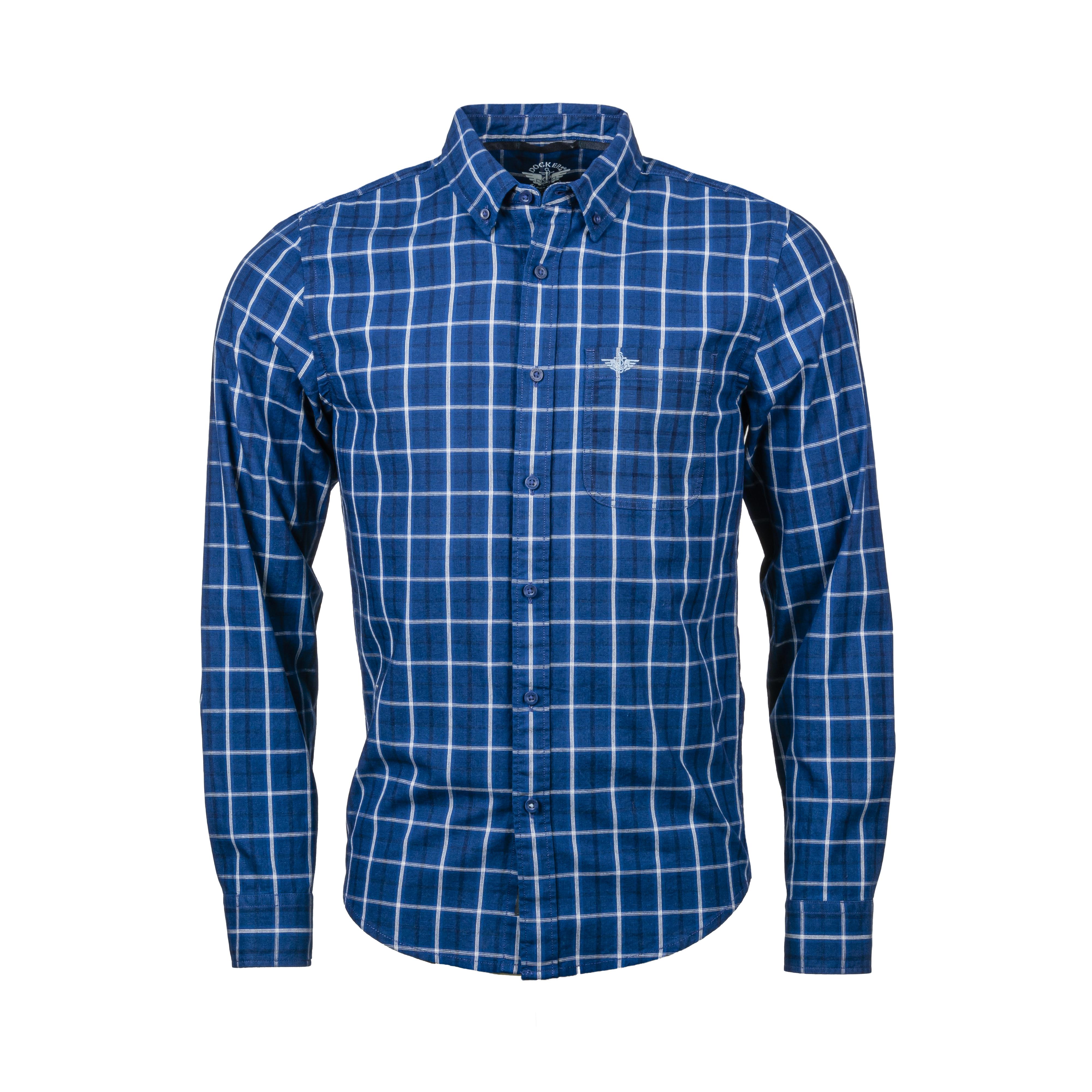 Chemise ajustée  alpha icon en coton à carreaux bleu marine