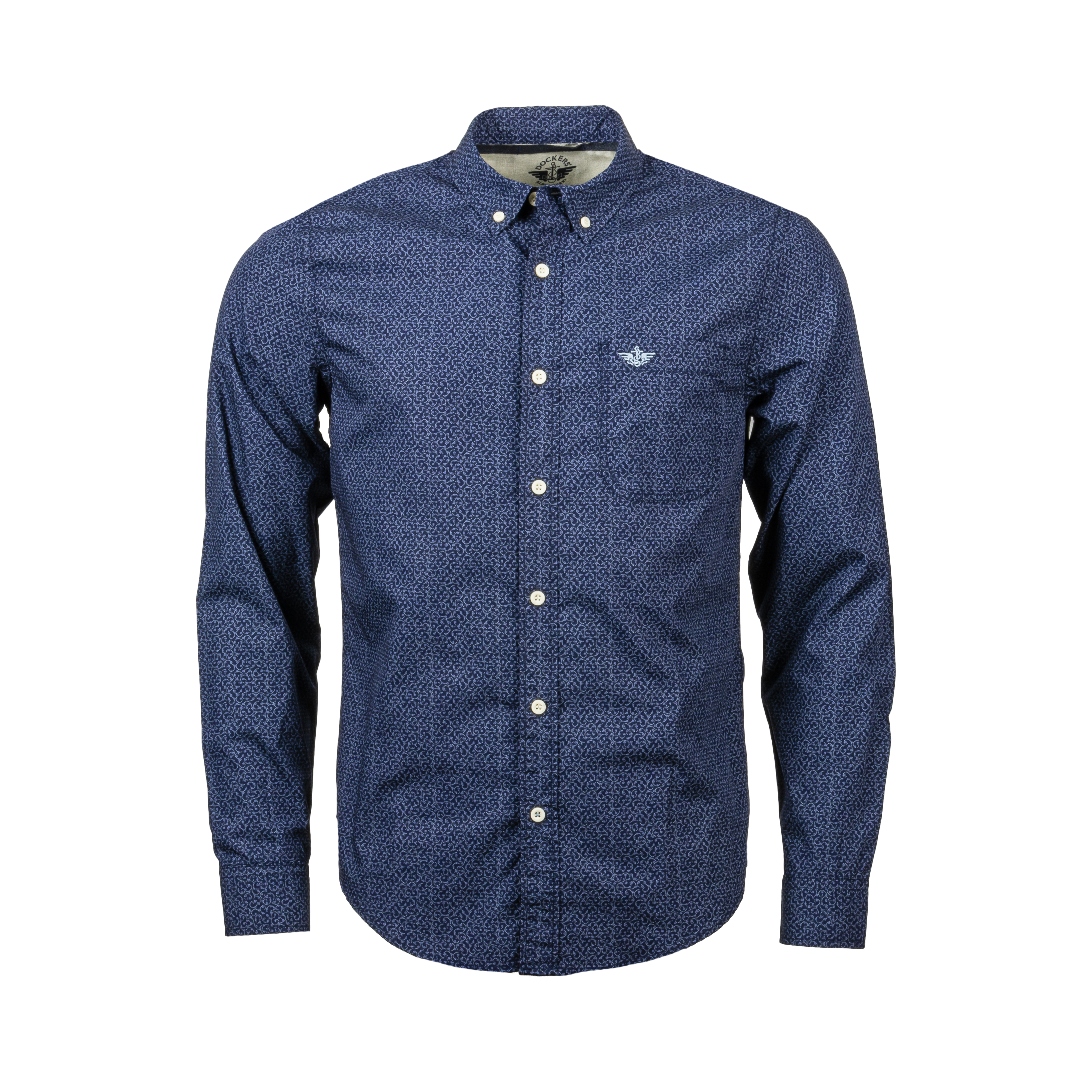 Chemise ajustée  alpha icon en coton bleu marine à motifs bleus