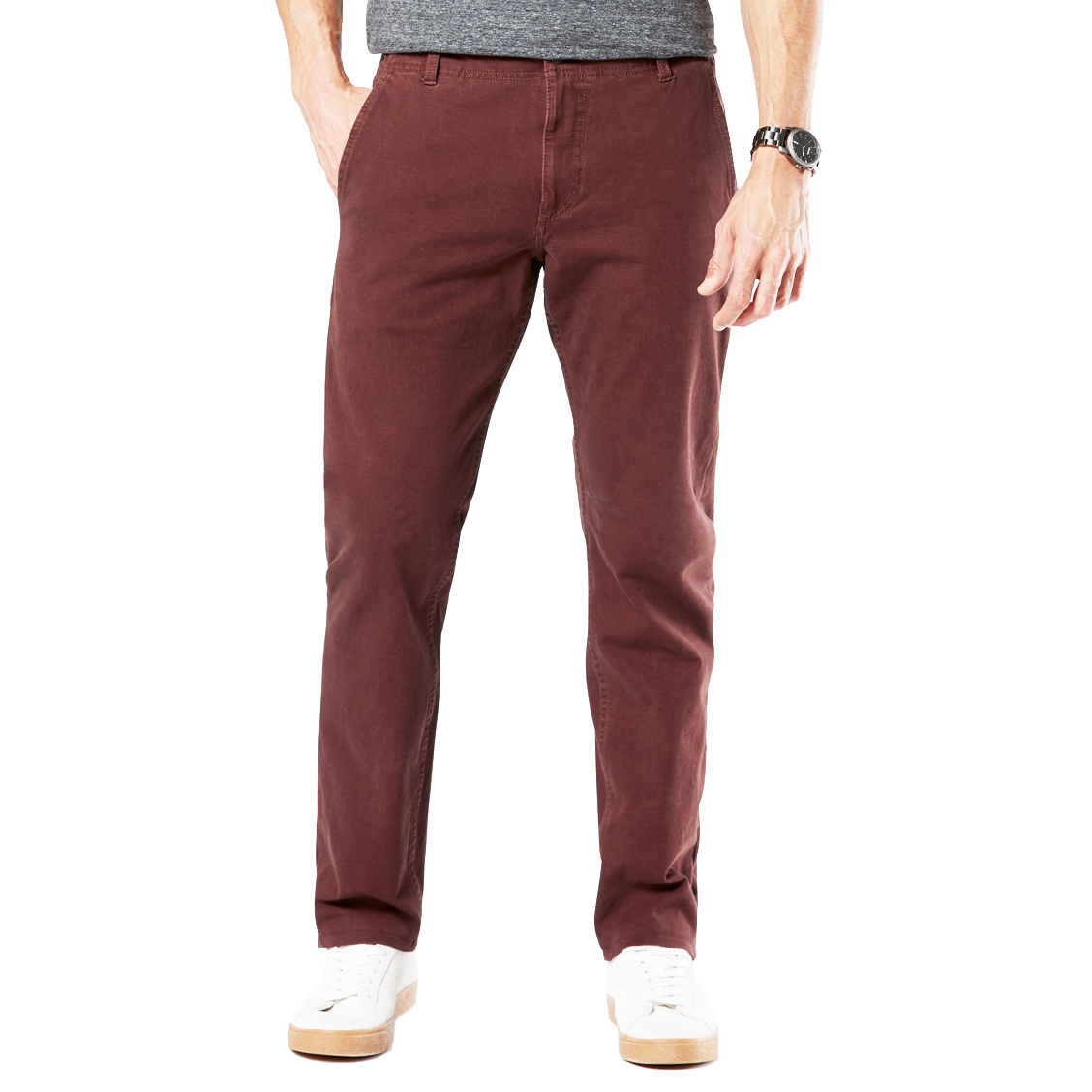 Pantalon  alpha khaki en coton stretch rouge bordeaux