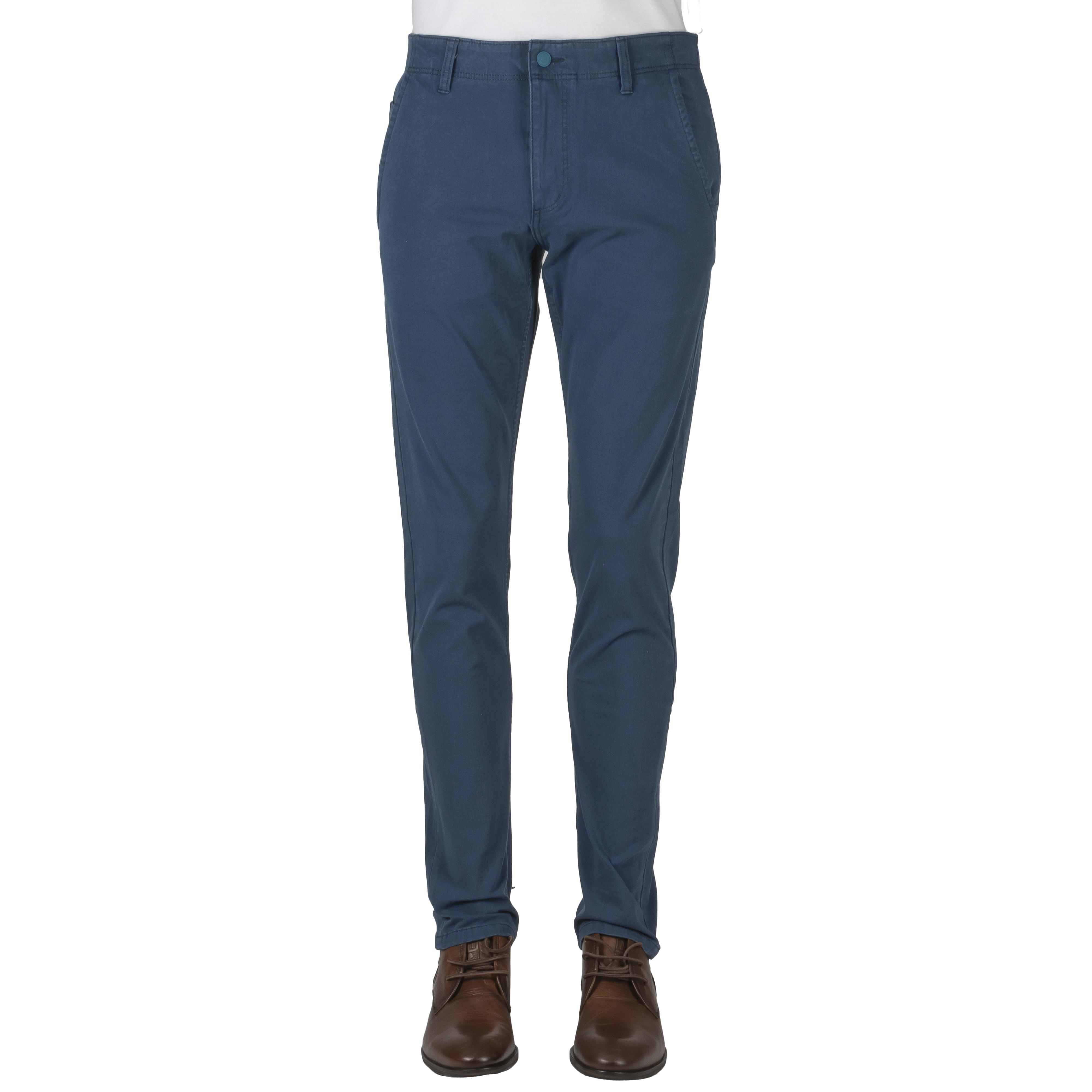 Pantalon  alpha khaki en coton stretch bleu canard
