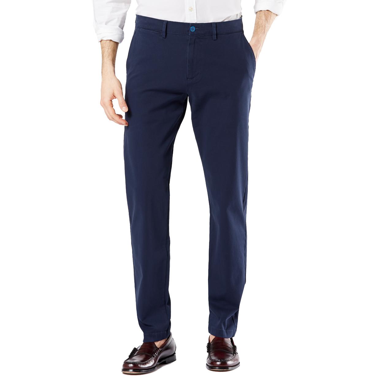 Pantalon chino  taper en coton stretch bleu marine
