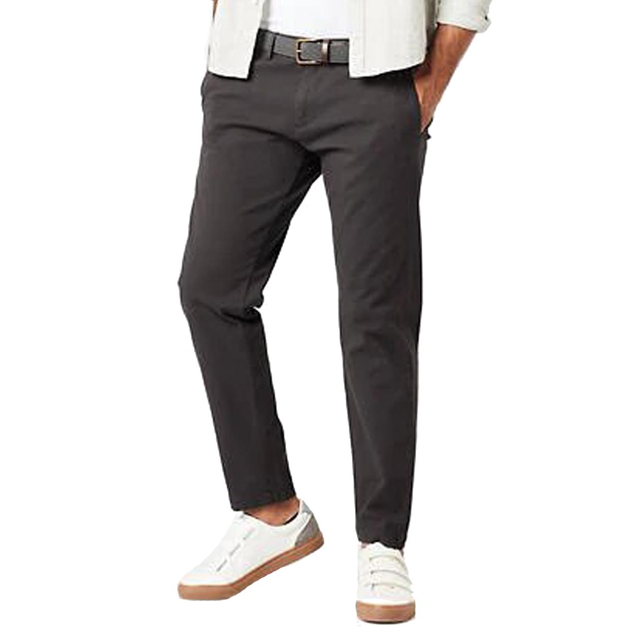Pantalon chino  en coton stretch gris acier