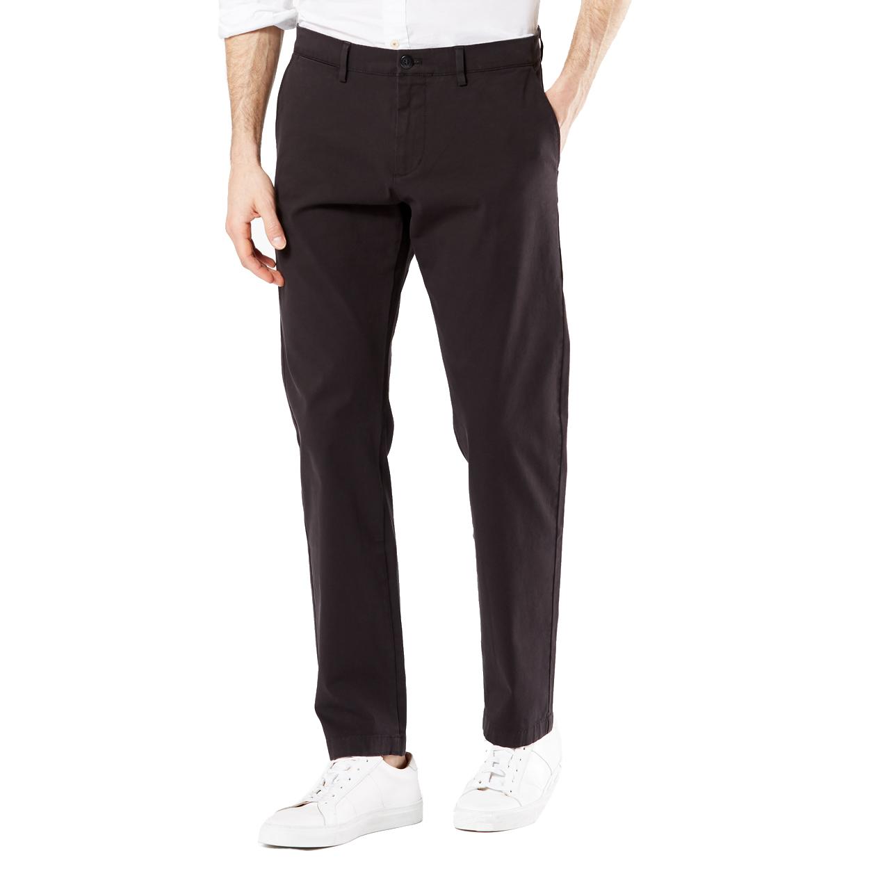 Pantalon chino  taper en coton stretch noir
